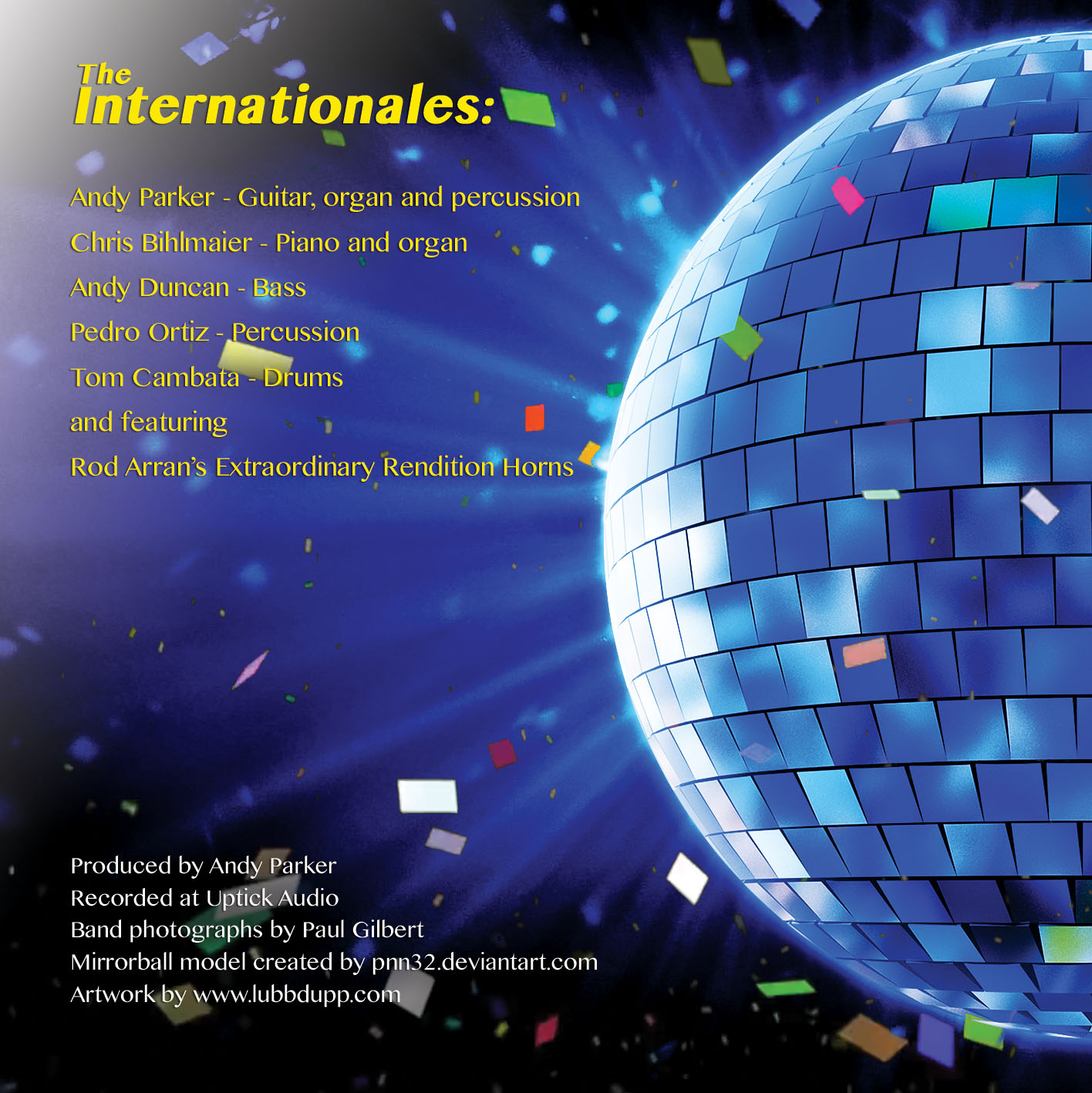 Andy Parker and the Internationales - MIRRORBALL rear cover